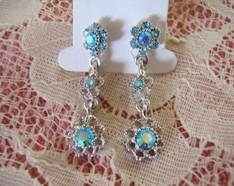 Vintage Silver Metal & Aurora Baby Blue Rhinestone Floral Dangle Drop Pierced Earrings-Bride Bridesmaid Wedding