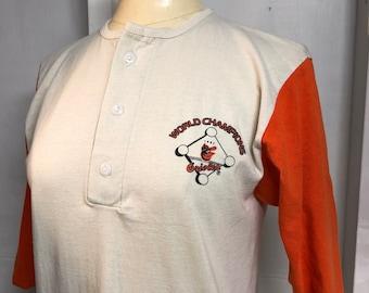 a103e348c5 Vintage 1980s Baltimore Maryland Orioles Baseball Championship Game Raglan  Tee