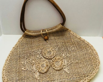 Vintage Large Straw Purse with Wooden Handles and Boho Floral Accents