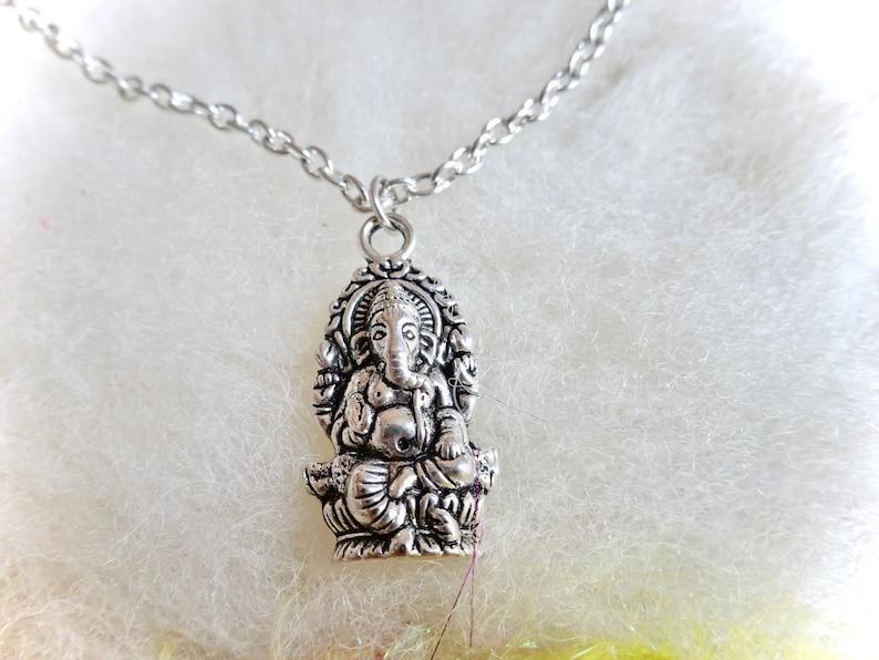 Ganesha Charm Necklace Silver Color Tibetan Silver Ganesha Pendant Jewelry Zen Hindu Spiritual Deity Ganapathi Obstacles