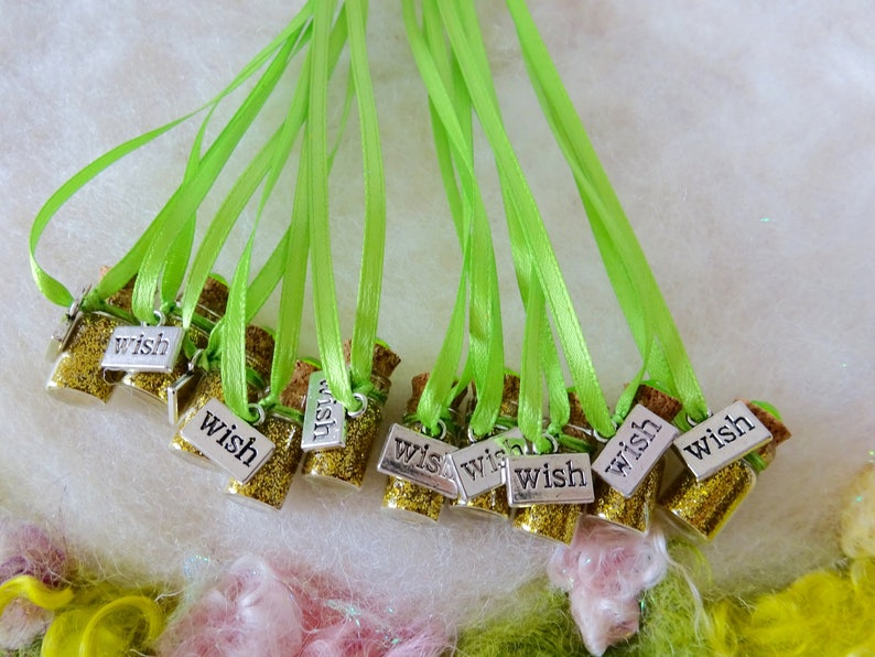 Gold Wish Pixie Party Favors 10 Party Favors Whimsical Birthday Party Gold Glitter Party Favors Make a Wish Party Favors Glitter Necklace