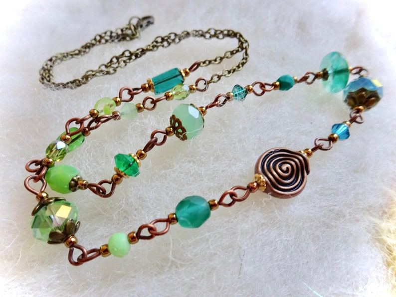 Shades of Green Beaded Chain Necklace Copper Spiral Bead and Glass Beads with Bronze Chain