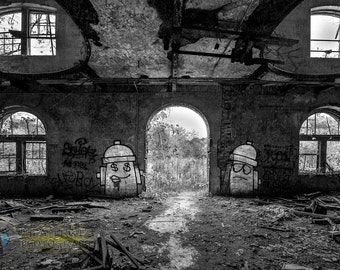 """Fine Art Black and White Print of the abandoned  Overholt Distillery """"Where's the Fire"""""""