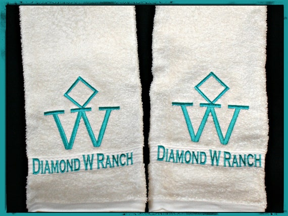2 Hand Towels with Custom Brands