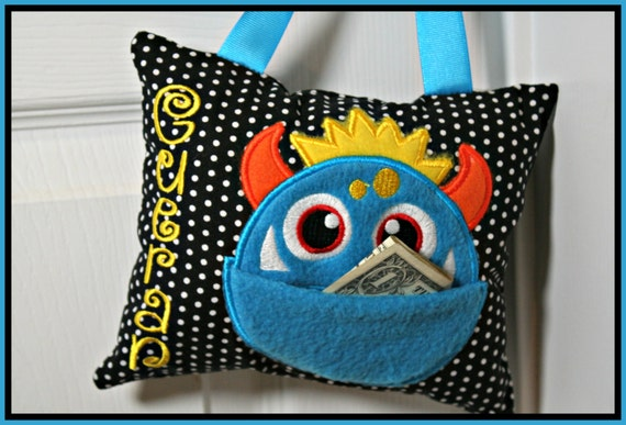 Personalized Tooth Fairy Monster Pillow - Boy Door Hanging Monster Pillow