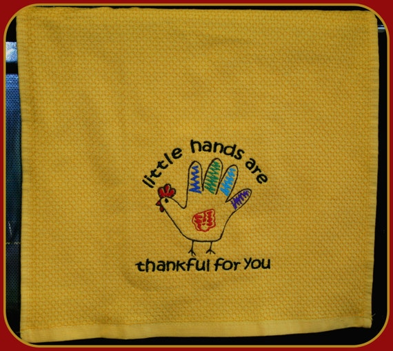 Set of two custom Kitchen Hand Towels Little Hands are Thankful For You