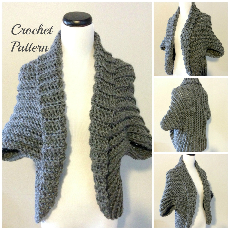 CROCHET PATTERN - Crochet Shrug Pattern, Oversized Sweater Cardigan ...