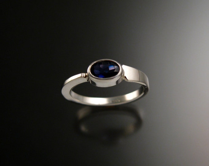 Iolite stackable Ring Sterling Silver Asymmetrical ring Hand crafted in your size