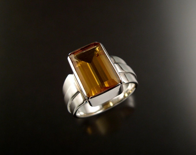 Citrine Rectangle ring Sterling Silver large rectangular stone Topaz substitute size 11