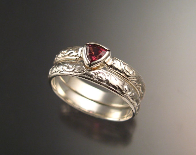 Pink Tourmaline Triangle Wedding set Sterling Silver Victorian bezel set Pink Diamond substitute ring made to order in your size