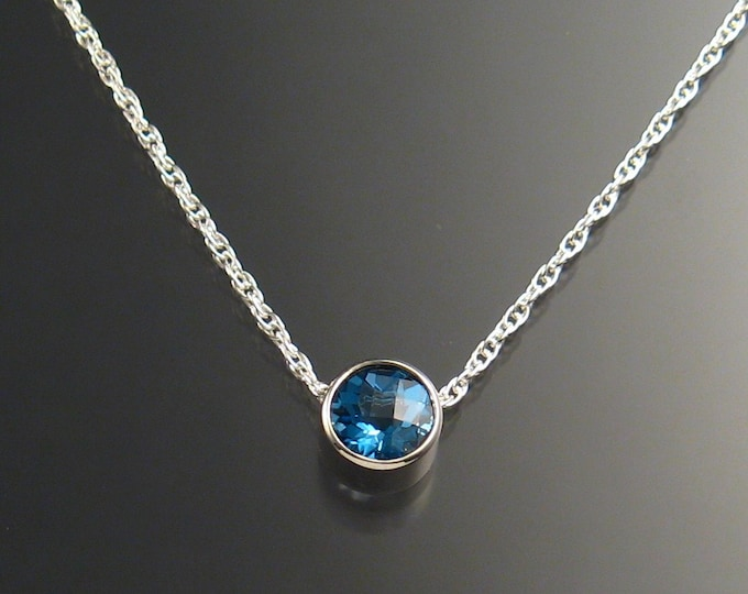 Blue Topaz Necklace, Sterling Silver
