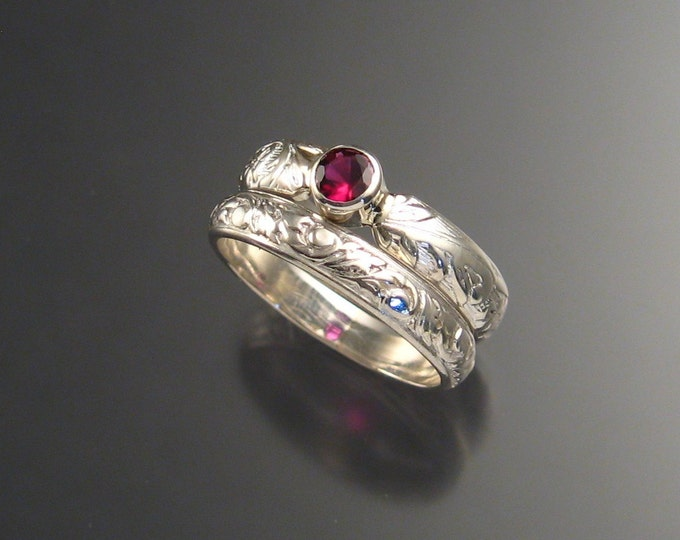 Garnet Wedding set Sterling Silver made to order in your size