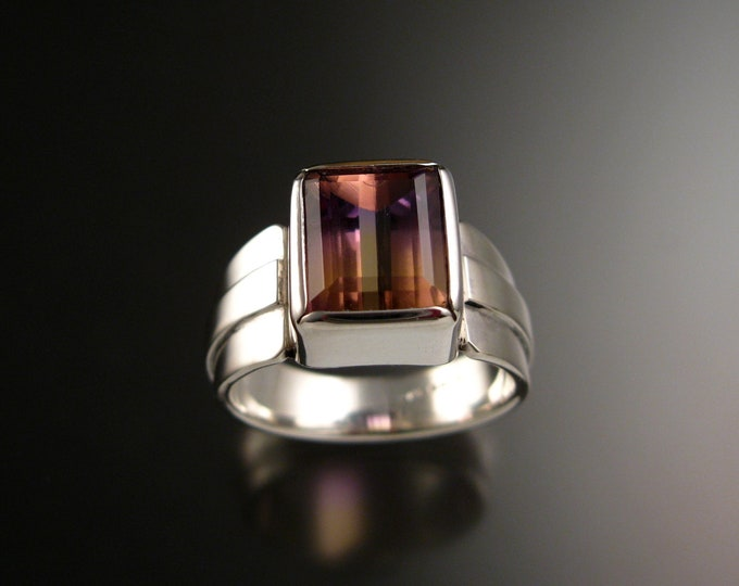 Ametrine Ring Sterling Silver Bezel set wide band rectangular natural gemstone Mans ring size 10 1/2