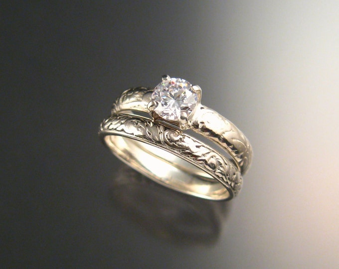 White Zircon Wedding set in 14k White Yellow or Rose Gold Diamond substitute ring made to order in your size