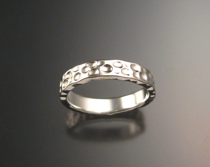 Heavy 14k White Gold Moonscape Wedding band Unique Handmade ring