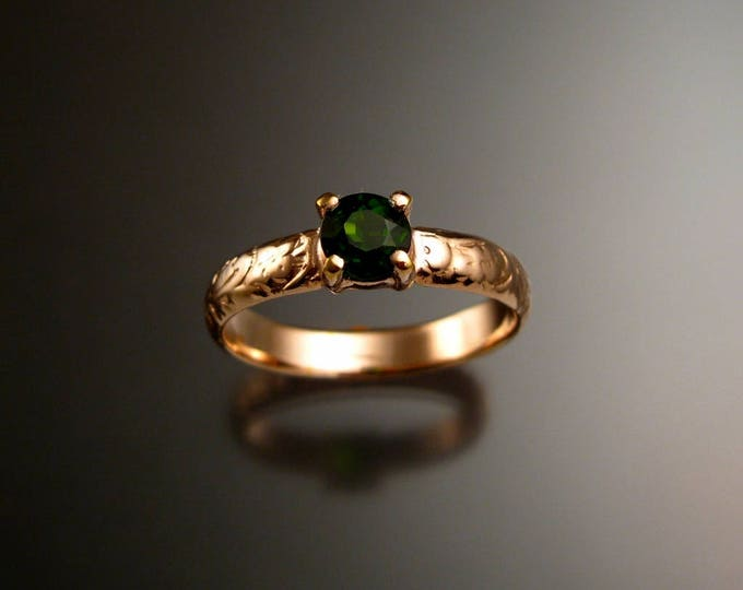 Chrome Diopside Wedding ring 14k rose Gold Emerald substitute Victorian floral pattern ring made to order in your size