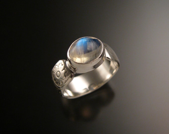 Moonstone Sterling Silver handmade wide Victorian floral pattern band ring east west bezel set stone ring made to order in your size