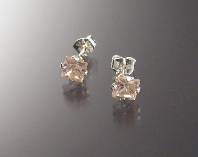 Pink Cubic Zirconia posts 6 mm Squares, sterling silver