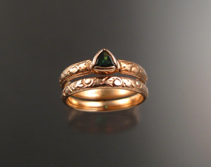 Green Garnet triangle Wedding set 14k Rose Gold Victorian bezel set stone two ring set made to order in your size