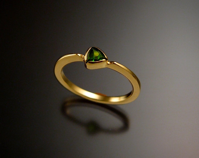 Stackable Chrome Diopside triangle ring 14k Yellow Gold stacking Emerald substitute ring Made to order in your size