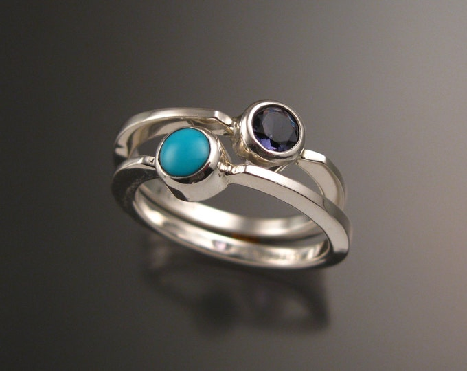 Stackable Mothers Birthstone ring set of Two Sterling silver birthstone rings Made to order in your size
