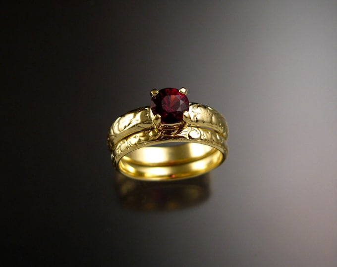 Garnet Wedding set 14k Green Gold Ruby substitute Natural Raspberry Rhodolite Garnet ring made to order in your size
