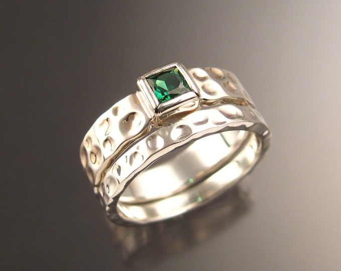 Green Tourmaline square Moonscape two ring Wedding set Emerald substitute engagement ring handcrafted in 14k white gold in your size