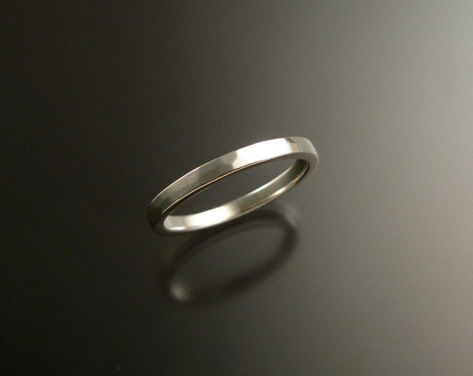 14k White Gold wedding Band stackable gold ring