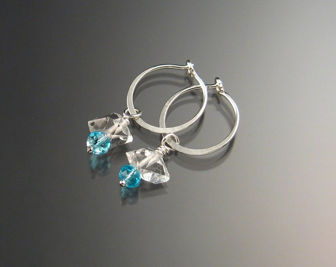 Natural Quartz Crystal Birthstone Hoop Earrings March birthstone Aqua blue Hoops in Sterling silver
