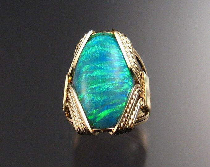 Green Lab Opal Ring Gold-Filled made to order in your size