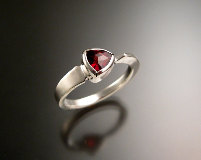 Garnet triangle ring 14k white Gold bezel set Stone Asymmetrical setting made to order in your Size
