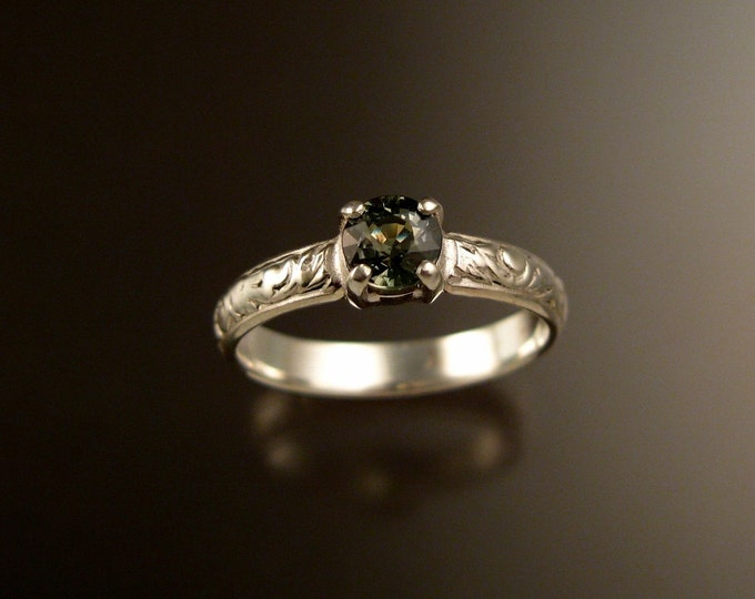 Green Sapphire Wedding ring 14k White Gold Green Diamond substitute Victorian ring made to order in your size