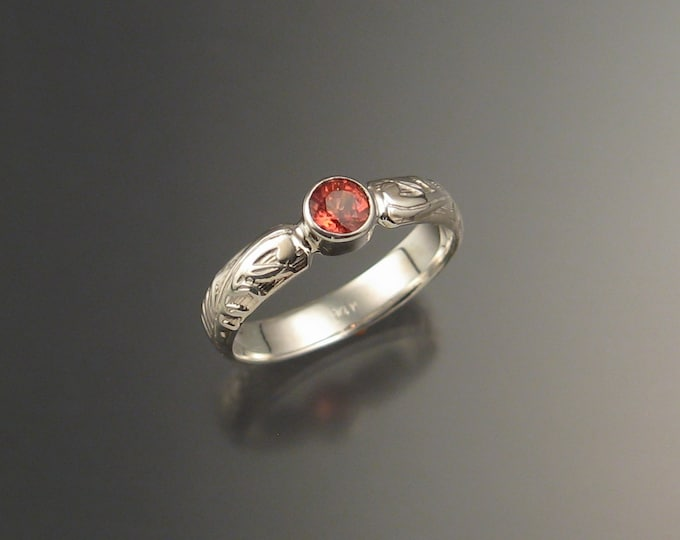 Orange Sapphire Wedding engagement ring 14k White Gold Victorian bezel set Padparadscha ring made to order in your size