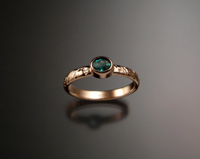 Emerald Wedding ring 14k rose Gold Victorian bezel set ring with 4x5 mm oval stone size 5