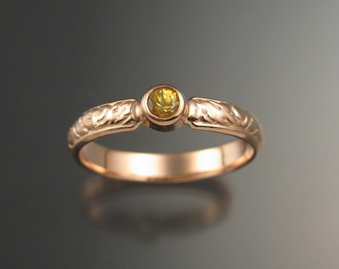 Sapphire Natural Golden Sapphire Wedding ring 14k rose Gold Victorian bezel set canary Diamond substitute ring made to order in your size