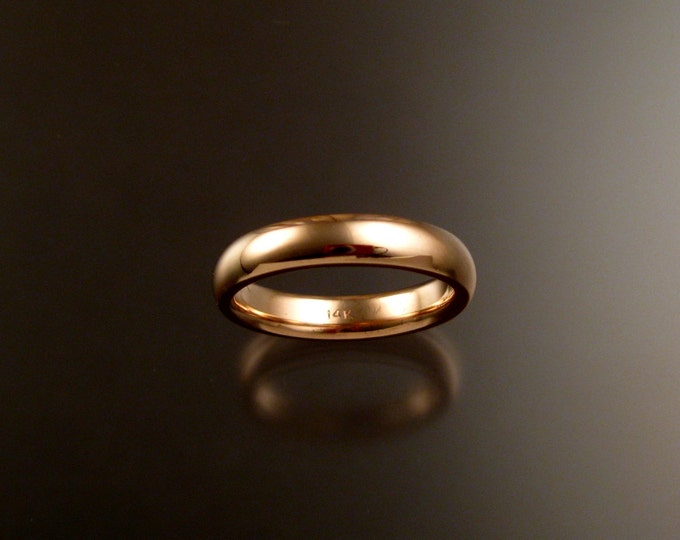 14k Rose Gold 2x4mm comfort fit polished domed Wedding band made to order in your size