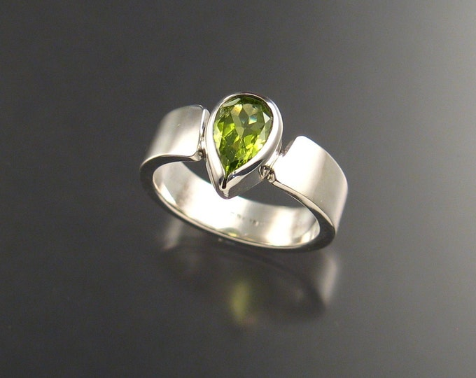 Peridot Ring Pear shaped stone Sterling Silver ring made to order in your size