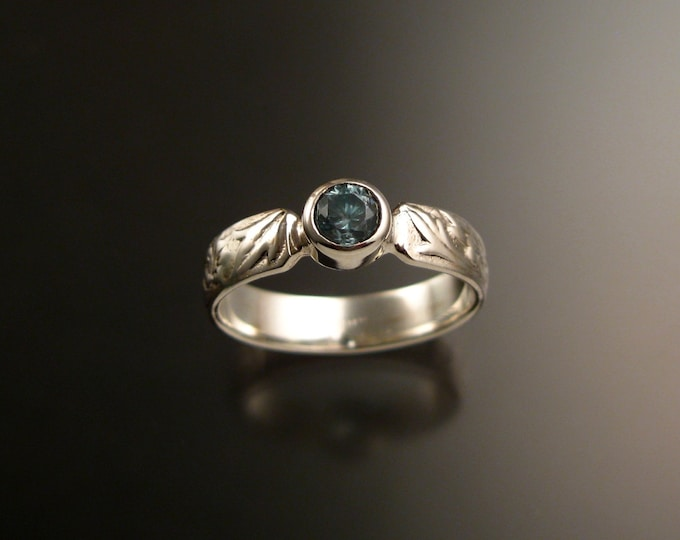 Blue Zircon ring 14k White Gold blue Diamond substitute Victorian flower and vine pattern ring made to order in your size