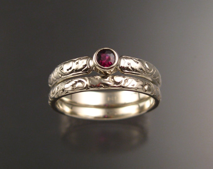 Garnet Wedding set 14k White Gold Ruby substitute Victorian bezel set two ring set made to order in your size