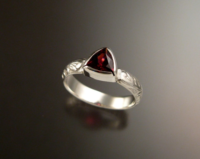Garnet Triangle ring Sterling Silver Victorian bezel set stone ring made to order in your size