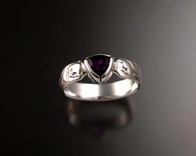 Amethyst Wedding ring 14k White Gold 5mm triangle stone Victorian floral pattern ring handmade to order in your size
