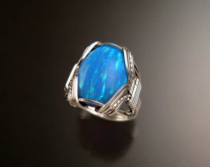 Powder blue Lab created Opal ring handcrafted in Sterling Silver made to order in your size