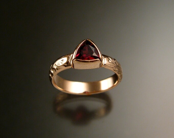 Garnet Triangle ring 14k Rose Gold Victorian bezel set stone ring made to order in your size