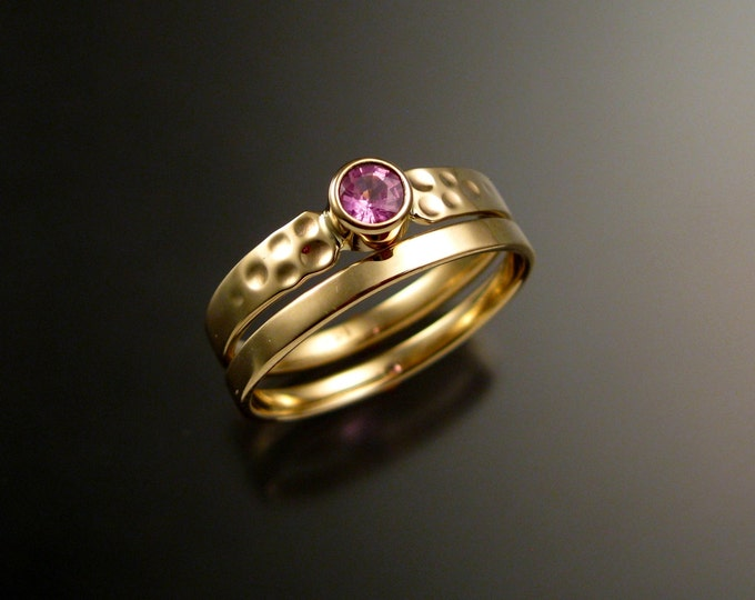Pink Sapphire Wedding ring set 14k Yellow Gold Pink Diamond substitute two ring bridal set made to order in your size