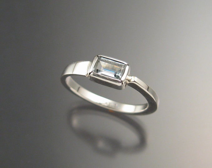 Aquamarine Ring Sterling Silver Asymmetrical stackable ring Hand crafted in your size