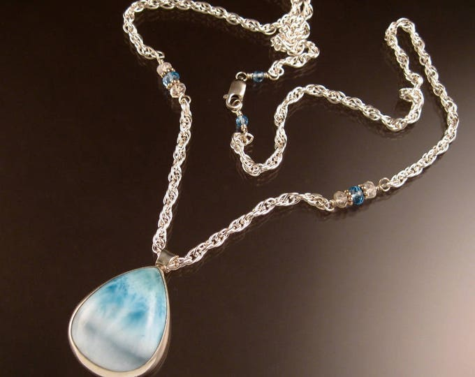 Larimar Pear shaped pendant Necklace handmade in Sterling Silver