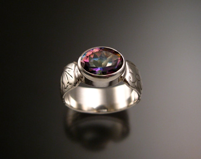 Mystic Topaz Sterling Silver handmade wide Victorian floral pattern band ring east west bezel set stone ring made to order in your size