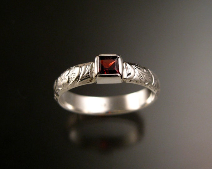 Garnet Ring Sterling Silver square stone Victorian floral pattern band Sterling Silver Handmade to order in your size