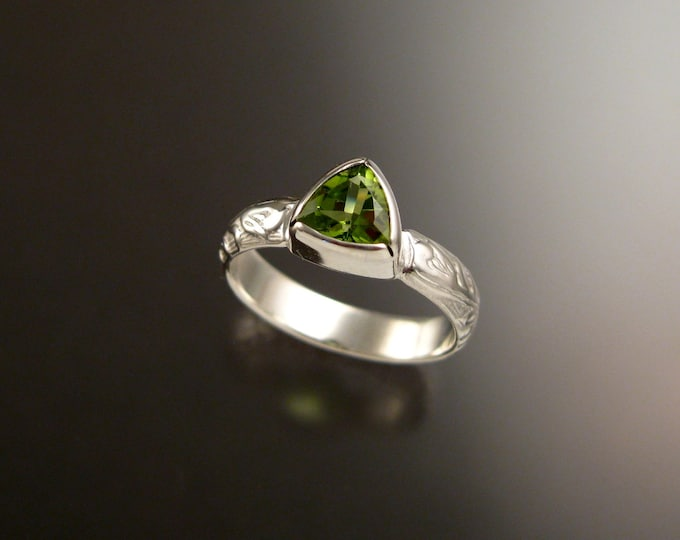 Peridot Triangle ring Sterling Silver Victorian bezel set stone ring made to order in your size