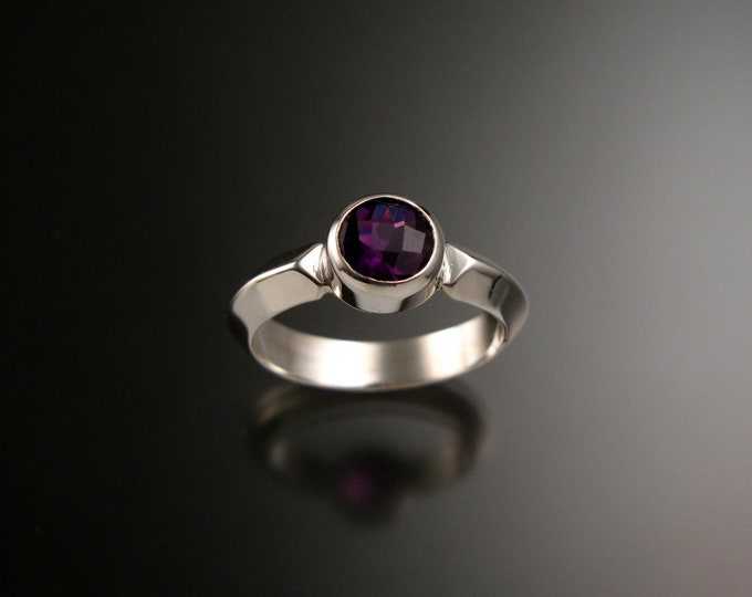 Amethyst ring Sterling silver Triangular band Made to order in your size